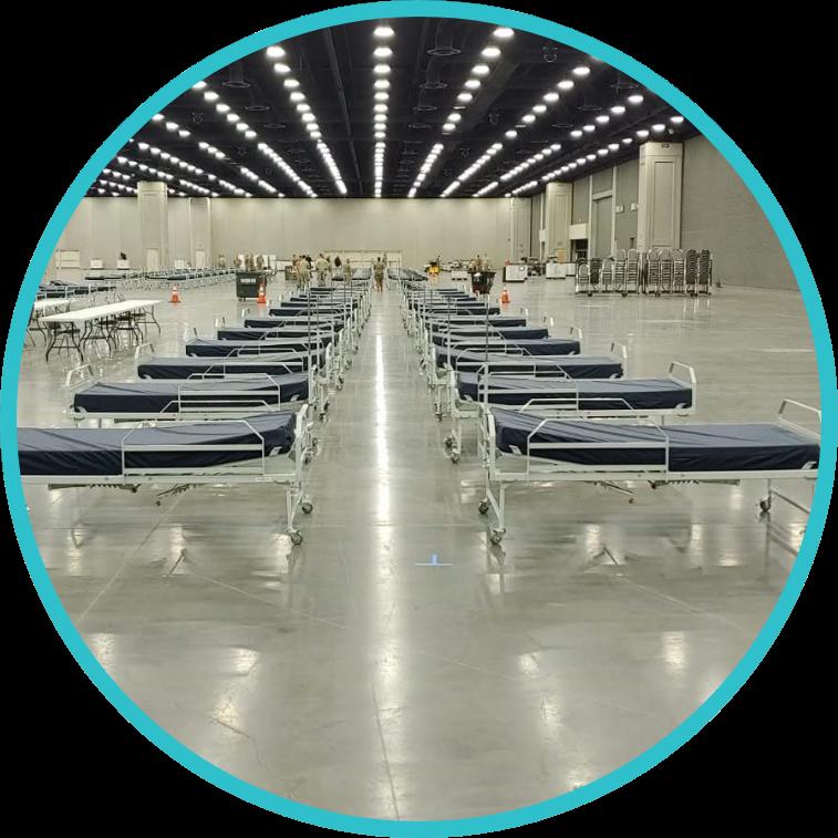 Interior of a temporary facility